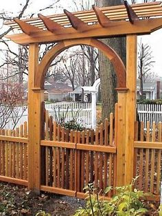 New England Pergola Wooden Garden Arbor with Pyramid Picket Gate. Made out of Western Red Cedar. Wrought Iron Garden Gates, Garden Gates And Fencing, Garden Arbor, Potager Garden, Diy Pergola, Wooden Pergola, Pergola Plans, Pergola Kits, Cheap Pergola