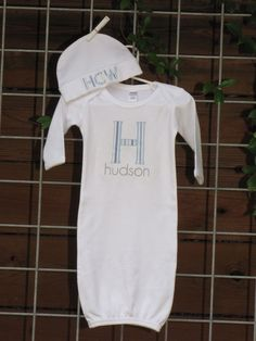 Baby gown and hat setpersonalized by rockpapersistersco on Etsy, $30.00