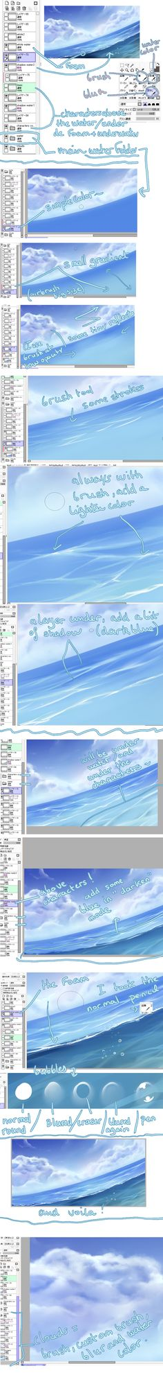 water tutorial by kuro-mai.deviantart.com on @deviantART ✤ || CHARACTER DESIGN REFERENCES | キャラクターデザイン |  • Find more at https://www.facebook.com/CharacterDesignReferences & http://www.pinterest.com/characterdesigh and learn how to draw: concept art, bandes dessinées, dessin animé, çizgi film #animation #banda #desenhada #toons #manga #BD #historieta #strip #settei #fumetti #anime #cartoni #animati #comics #cartoon from the art of Disney, Pixar, Studio Ghibli and more || ✤