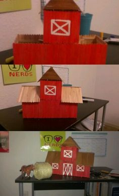 This is a barn made for a farm project at school...i made it from popcicle sticks and tachy glue