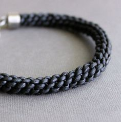 Thick Braided Leather Bracelet Black Cord Mens by LynnToddDesigns, $65.00