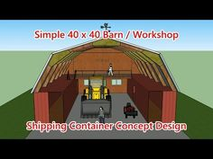 40 x 40 Barn / Shop Container Design Concept Container Office, Container Shop, Container Cabin, Container House Design, Shipping Container Workshop, Shipping Container House Plans, Shipping Containers, Building A Container Home, Container Buildings