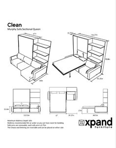 MurphySofa Clean Sectional Queen Wall Bed is part of Clean Murphysofa Sectional Wall Bed Expand Furniture The smartest wall bed solution we offer, sleek side folding legs and raised height of unit m - Murphy Bed Couch, Murphy Bed Ikea, Murphy Bed Plans, Expand Furniture, Space Saving Furniture, Diy Furniture, Furniture Design, Furniture Stores, Bedroom Furniture