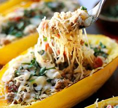 Spaghetti Squash Boats Substitute ground chicken or turkey for beef!