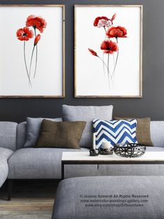 Poppy Flowers Illustration Set of 2 Poppies Red Home Decor, Abstract Flower Art Print Floral Watercolor Painting, Wall Decor Gift for Women I purchased these prints and they are gorgeous!