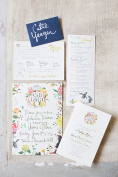 Designed by Easton Events - Destination Wedding Planners with offices in Charleston, SC and Charlottesville, VA photo by Patricia Lyons Watercolor Invitations, Invitation Paper, Invitation Suite, Invitation Design, Wedding Paper, Wedding Cards, Wedding Stationary, Wedding Invitations, Wedding Programs