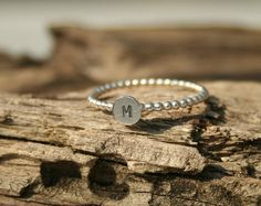 Initial bead Ring, Sterling silver, Stacking Ring, Hand stamped, Initials, Letter, Personalized ring, Monogram ring, Beaded ring on Etsy, $21.09