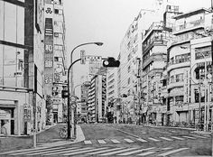 Line drawing of Tokyo (Shibuya? Cityscape Drawing, City Drawing, Manga Illustration, Illustrations, Landscape Drawings, Art Drawings, City Sketch, Building Sketch, Watercolor Architecture
