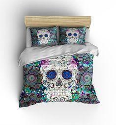Sugar Skull Bedding Duvet Cover Comforter Cover by FolkandFunky