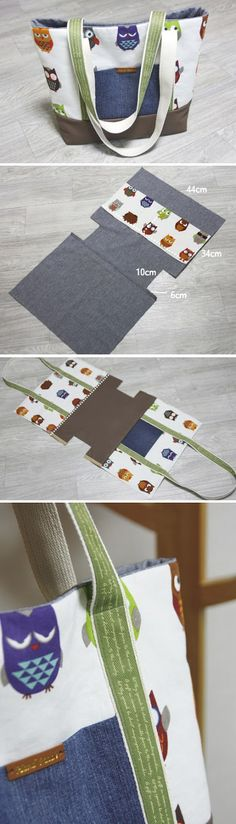 Easy Canvas Tote Bag with Pocket. Step by step DIY Tutorial.  http://www.handmadiya.com/2015/11/diy-canvas-tote-bag.html