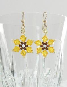 CLEARANCE -Handmade Swarovski Beaded Sunflower earrings, Beaded Swarovski…