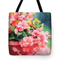 Bucket'O'Begonias Tote Bag for Sale by Anna Porter Floral Tote Bags, Thing 1, Begonia, Poplin Fabric, Bag Sale, Fine Art America, Totes, Floral Design, 18th
