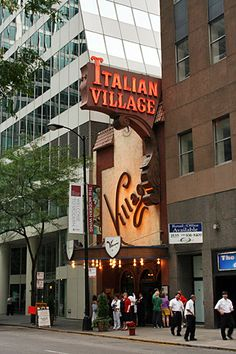 A sign you're in Chicago? Italian Village, the city's oldest Italian restaurant, est. 1927 (Chicago Pin of the Day, 9/28/2014).