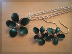 Teal Set Nail Polish Flower Necklace and Earrings by KraftyRUS, $15.00