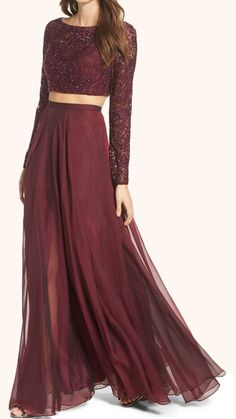 Two Piece Long Sleeves Lace Prom Gown in Burgundy #gown #promdress #eveninggown