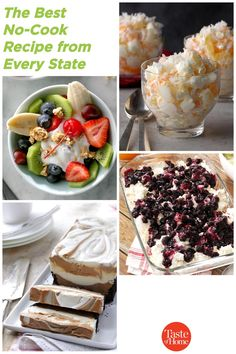 Eat your way across the country—no cooking required! Summer Desserts, No Bake Desserts, Dessert Recipes, No Cook Appetizers, Cashew Chicken, Banana Split, Kabobs, Chocolate Peanut Butter, Cherry Tomatoes