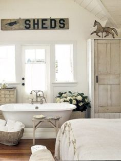 Bedroom Bathtub via Country Living / Photography by Grey Crawford // I like the design of this but I wouldn't want to combine bed and bathroom...