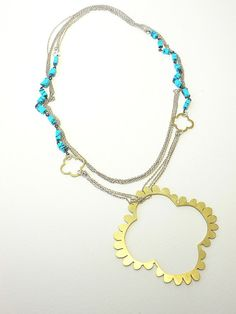urban boho turquoise silver and brass long stacking by papermetal, $110.00