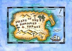 "Island of the Marooned Parrot Treasure Map / 5"" x 7"" Print / Pirate Art by Alison Murray Whittington"