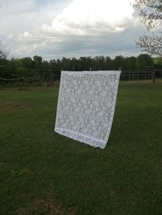Vintage Lace Curtain Panel French Farmhouse Window by misshettie, $28.00