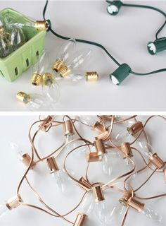 Easy DIY wedding lighting with copper spraypaint and string lights