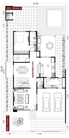 Small Modern House Plans, Narrow Lot House Plans, Narrow House, Duplex House Plans, Dream House Plans, House Floor Plans, Bungalow House Design, Small House Design, Best Home Plans