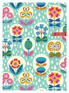 Helen Dardik It's raining today. I have no excuse not to be working. but, before I start, I thought I'd show you this rainy garden pattern I made. Warm colours for a warm summer rain repeat:). Pretty Patterns, Flower Patterns, Surface Pattern Design, Pattern Art, Motif Vintage, Pattern Illustration, Botanical Illustration, Textile Patterns, Textiles
