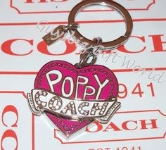 *NEW* Authentic Coach Poppy Patch Heart Key Chain Fob 92738