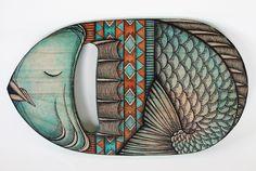 Customized hand plane, Daniela Garreton x Hidden Wood Longboard Design, Skateboard Design, Fish Surfboard, Chill, Fish Art, Fish Fish, Painted Boards, Designs To Draw, Collaboration