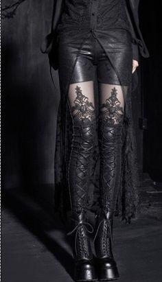 fashion girl's Punk Gothic embossed decorative pattern leggings trousers S-XXL | eBay
