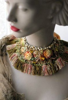 SALE-- Renaissance- bold statement collar  necklace with vintage textiles, hand embroidered and beaded.