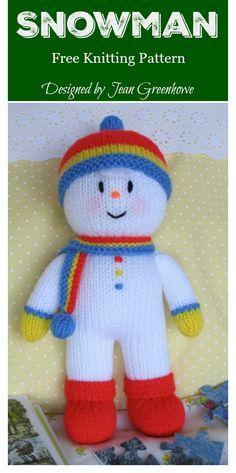 Any knitter will love this wonderfully designed Amigurumi Snowman Free Knitting Pattern. Animal Knitting Patterns, Crochet Dolls Free Patterns, Christmas Knitting Patterns, Amigurumi Patterns, Amigurumi Doll, Crochet Snowman, Knitted Dolls, Stuffed Toys Patterns, Free Knitting