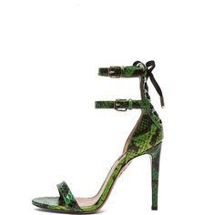 Aquazzura Saharienne Elaphe Snakeskin Heels ($578) ❤ liked on Polyvore featuring shoes, sandals, heels, high heel shoes, high heel sandals, lace up heel sandals, heeled sandals and ankle strap high heel sandals