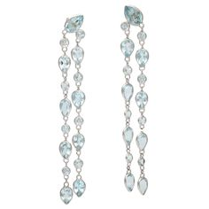 Estate lg blue topaz diamond ring vintage 14k gold deco topaz cascading blue topaz chandelier earrings mozeypictures Gallery