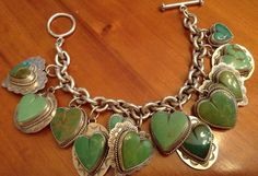Joan Slifka Sterling Green Turquoise Heart Bracelet Vintage Charm