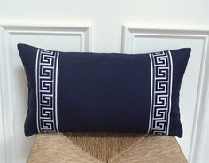 Greek key pillow cover navy and white pillow cover by drkdesigns White Pillow Covers, White Pillows, Throw Pillows, Greek Key, Navy And White, Blue Bedrooms, Trending Outfits, Unique Jewelry, Handmade Gifts