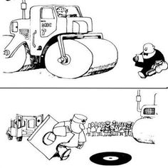 The tragicomedy of making music according to Quino. Funny Cartoons, Funny Comics, Music Signs, Coffee Music, Lucky Luke, Cartoon Posters, Bd Comics, Music Images, Music Humor