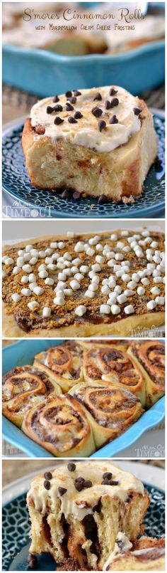 S'mores Cinnamon Rolls with Marshmallow Cream Cheese Frosting. No Bake Desserts, Just Desserts, Delicious Desserts, Dessert Recipes, Yummy Food, Breakfast And Brunch, Churros, Marshmallow Cream, Sweet Bread