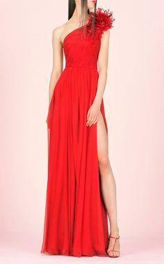 One Shoulder Flower Gown by Andrew Gn