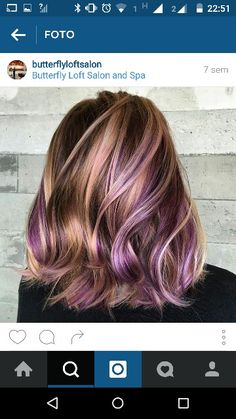 Color hair, purple and blonde. …