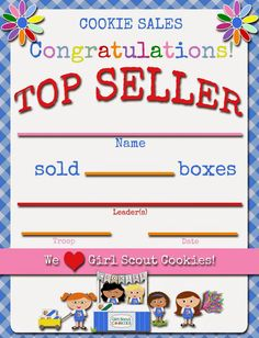 Fashionable Moms: Girl Scouts: Daisies Cookie Top Seller FREE Printable Certificate