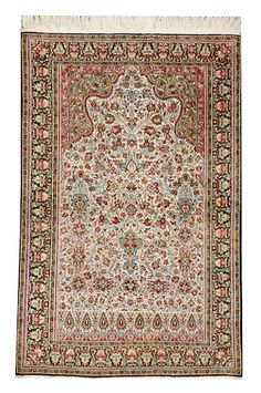 Qum silk  rug  size approximately 3ft. 4in. x 5ft. 2in.