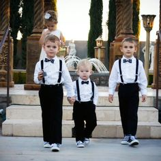 These adorable guys are wearing our black and white polkadot bow ties and black suspender sets. These are great for summer weddings, Easter boy outfits, groomsmen, ringbearers, newborn photo props and much more. Shown here in toddler to boy size. Outfits For Big Men, Wedding Outfit For Boys, Wedding With Kids, Wedding Attire, Boy Outfits, Wedding Tuxedos, Wedding Ideas, Summer Outfits, White Tuxedo Wedding