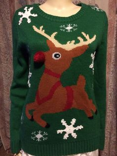 Green Holiday sweater with reindeer front Holiday Sweaters, Green Sweater, Reindeer, Pullover, Party, Red, Etsy, Style, Fashion