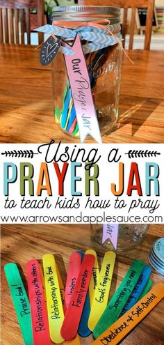 I love to use our prayer jar every morning to help my kids develope a healthy prayer life! See what's in our prayer jar and get some fun free printables, including a beautiful Lord's Prayer print. Bible Activities For Kids, Bible Crafts For Kids, Bible Study For Kids, Sunday School Activities, Bible Lessons For Kids, Sunday School Lessons, Kids Church Crafts, Children Church Lessons, Preschool Church Crafts