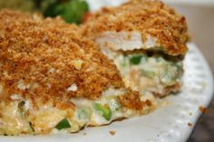 jalepeno popper chicken - so good and healthier with neufchatel filling, just a taco seasoned flour coating and baked in the oven