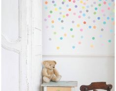 121 Mini Rainbow Confetti Polka Dot Wall Decals by WallDressedUp