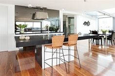 NSW Spotted Gum timber flooring was installed to this Grand Designs home by Connollys. The floor truly helps make this home a stand out from the crowd Timber Flooring, Kitchen Flooring, Hardwood Floors, Spotted Gum Flooring, Grand Designs Australia, Latest House Designs, Home Kitchens, Home Furniture, Kitchen Design