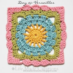 Day 23: Versailles block free crochet pattern on Life Made Creations at http://lifemadecreations.blogspot.com/2011/06/square-day-23-through-26-and-work-in.html