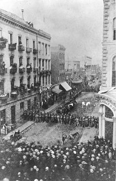 """A rare photographic image of a nineteenth-century urban riot in progress. Sacramento Street east of Montgomery during the course of the disturbance, showing police lined up to thwart the intentions of those bent on destroying a ""secesh"" newspaper"" - this is before Kye and Chance moved to SF, but it's too good a photo to pass up"